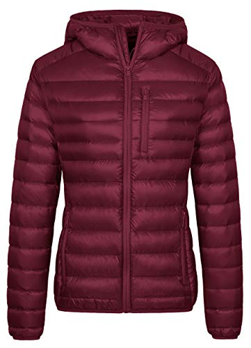 Wantdo Women's Causal Packable Ultra Light Weight Down Coat Wine Red L