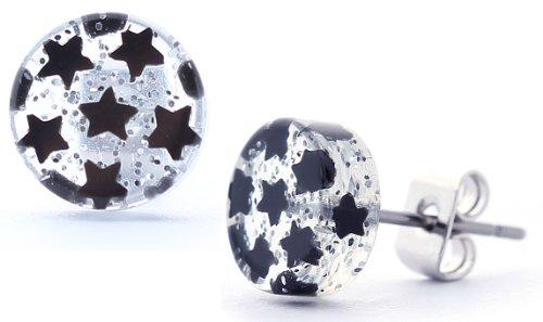 DonDon boucles d'oreilles étoile noire en acier inoxydable