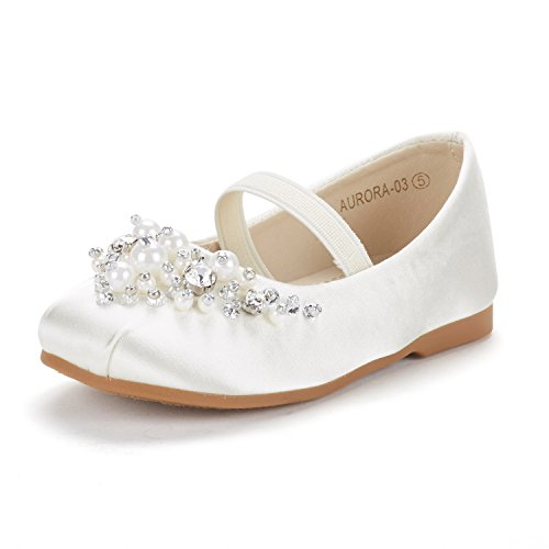 DREAM PAIRS Little Kid Aurora-03 Ivory Satin Girl's Mary Jane First Communion Flat Shoes Size 11 M US Little -