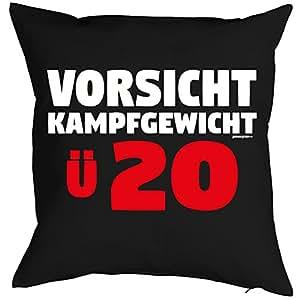 Cojín con mensaje Cumpleaños Diseño: Vorsicht, Lucha Peso. ü20–Sofá Cojín–Regalo–Negro