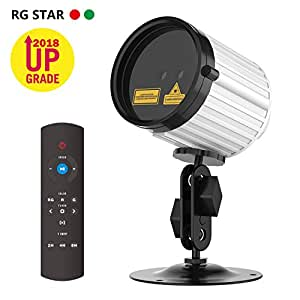 Christmas Lights Projector,Laser Lights Star Night Shower with RF Remote Controller Waterproof LED Projector Light Outdoor Decoration Green & Red Star Lights for Xmas,Holiday, Party,White