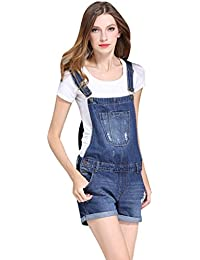 Women's Cute Denim Shorts Distressed Cowboy Jumpsuit...