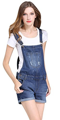 Women Juniors Casual Cute Ripped Distressed Denim Jeans Shorts Overall Shortalls US 4 Blue 12