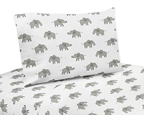 Sweet Jojo Designs Grey and White Twin Sheet for for Mint Watercolor Elephant Safari Collection - 3 Piece Set,