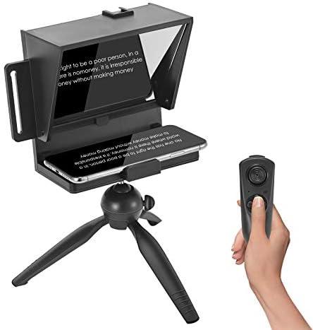 4YANG Mini teleprompter portátil de teléfono inteligente con control remoto, compatible con iPhone, Samsung, Android y cámara sin espejo, con trípode de escritorio