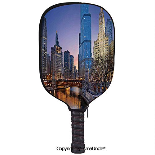 SCOXIXI Customized Racket Cover, Stylish USA Chicago Cityscape with Rivers Bridge and Skyscrapers Cosmopolitan City ImageRacket Cover,Protect Your Pickleball Paddles