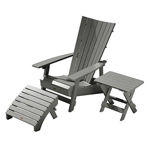 Highwood AD-KITADRI3-CGE Manhattan Beach Adirondack Chair with Side Table and Ottoman, Coastal (Teak Table And Chairs)