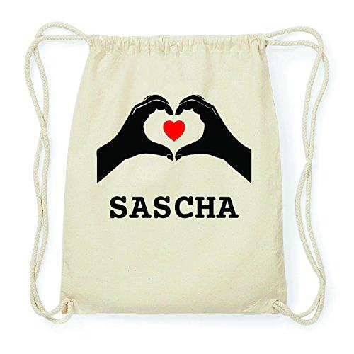 JOllify SASCHA Hipster Turnbeutel Tasche Rucksack aus Baumwolle - Farbe: natur Design: Hände Herz