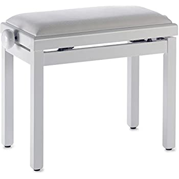 Stagg PB39 WHP VWH Piano Bench with High Gloss White Finish and White Velvet Seat