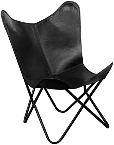 Festnight Vintage Butterfly Chair Real Leather Black Review