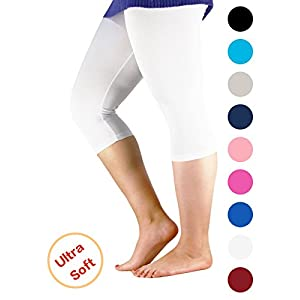 Century Star Women's Modal Plus Size Basic Solid Capri Leggings White US L-US XL(Tag 4XL)