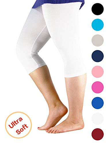 Premium Soft Light Comfy Fit Bamboo Capri Pants Under Dress Leggings For Women Regular and Plus Size White 2XL (US Size M)