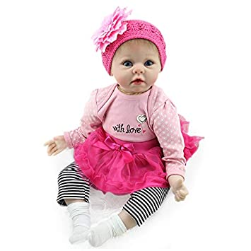 Nicery Soft Silicone Reborn Baby Doll 20in 50cm Toy Magnetic Pink Dress Hat