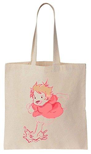 Pink Ponyo Movie Artwork Sacchetto di cotone tela di canapa