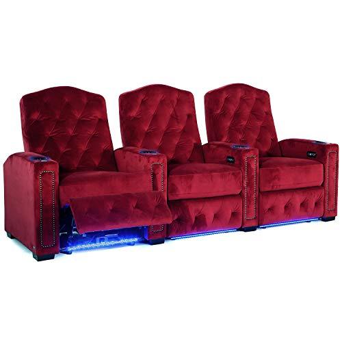 Octane Regal XL250 Power Recline Sangria Microfiber Home Theater Seating (Set of -