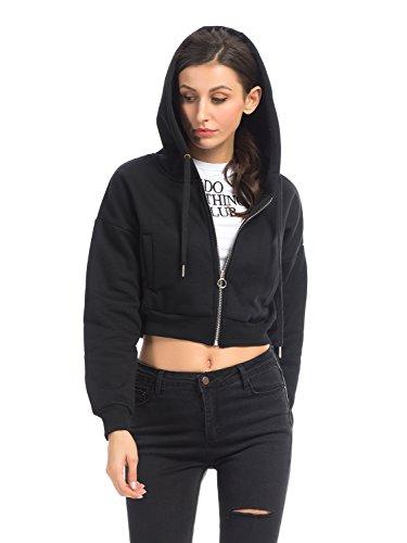 Women Crop Sweatshirt Hoodie Long Sleeve Full Zip Hooded Top Black M