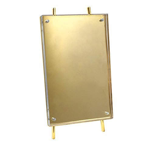 Isaac Jacobs 4x6 Gold Magnetic Acrylic Metal Easel Frame (4x6 Vertical) (Gold) ()