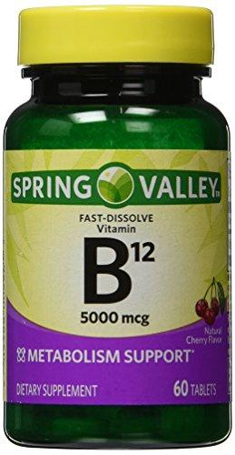 Spring Valley - Vitamin B-12 5000 mcg, Sublingual, Cherry Flavor, 60 Microlozenges - B-12 Sublingual Dots
