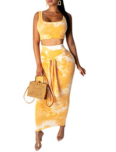 Remelon Womens Sexy Sleeveless Tie Dye Print Tank Crop Top Bodycon Tie Skirts Set 2 Piece Midi Dress Outfits Yellow 1 M ()