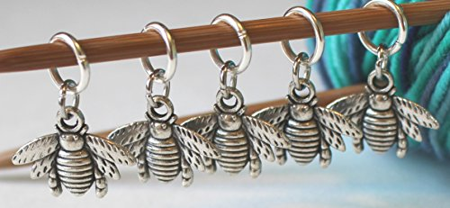 Set of 5 Honeybee Stitch Markers for (Charm Knitting Markers)