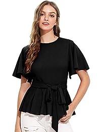 Romwe Blusa de Manga Corta con Volantes Finos y Dobladillo Crudo Elegante para Mujer con cinturón, Negro, S