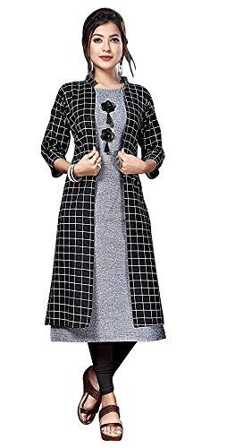 New Generation Fashion Hub Women's Cotton A-Line Kurti with Shrug