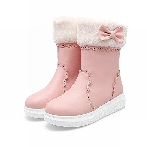 Latasa Womens Cute Bow Flats Short Snow Boots Invernali Rosa