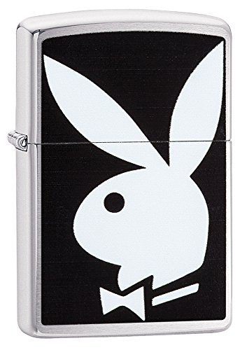 (Zippo Playboy Bunny Pocket Lighter, Brushed Chrome)