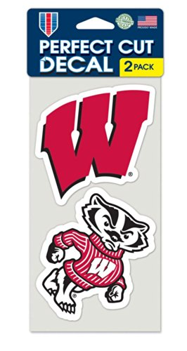 "NCAA University of Wisconsin Perfect Cut Decal (Set of 2), 4"" x 4"""