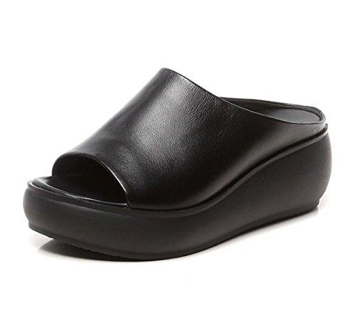 DANDANJIE Zapatos de Mujer cuña de tacón de Cuero Hecho a Mano Zapatillas de Verano Desgaste Suela Gruesa Sandalias de Moda al Aire Libre Zapatos caseros Negro