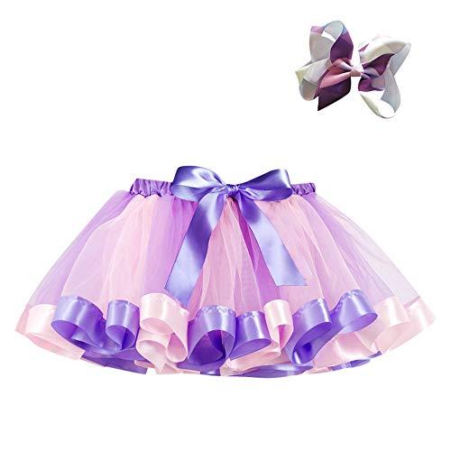 Baby Toddler Kids Girl Dance Ballet Tutu Skirt +Bow Hairpin Dress Up & Fairy Costumes (Purple -1, 4-7T)