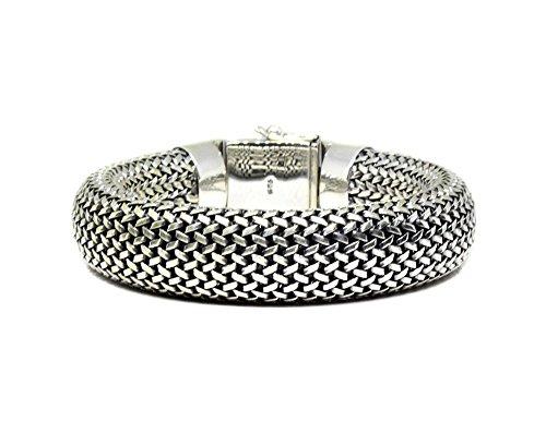 Bali Weave Bracelet - Heavy Duty Sterling Silver Weave Chain Bracelet, Men's Solid Sterling Silver Bracelet