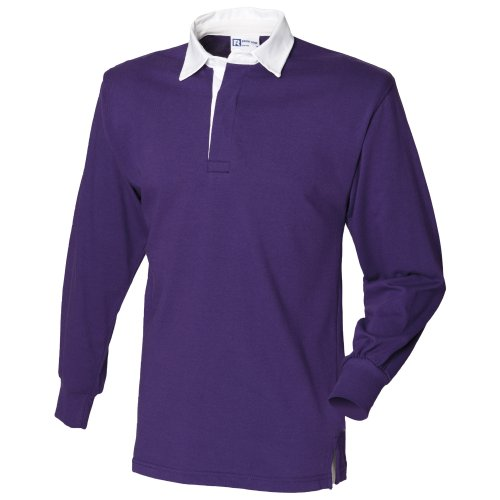 - Front Row Long Sleeve Classic Rugby Polo Shirt (XXL) (Deep Purple/White)