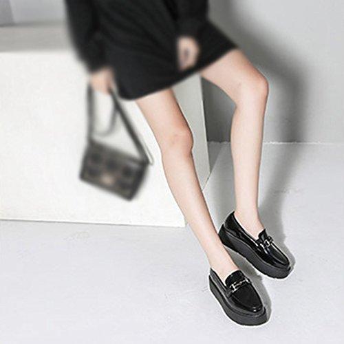 T-july Mocassini Scarpe Da Donna - Fashion Slip On Thick Plant Platform Round Toe Casual Penny