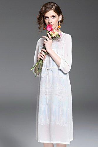 Solid Dresses s 4 Summer Pieces Spring Dress Suit Sleeve 2 Color Scoop Neck 3 Women Fashion for cotyledon SPnqX1P
