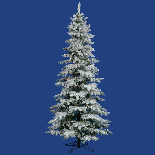 Vickerman 10 ft. Flocked Slim Utica Fir Multi LED Christmas -