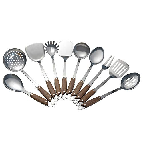 Vababa Stainless Steel Kitchen Cooking Utensils, 10-Piece Gadgets Cookware Set