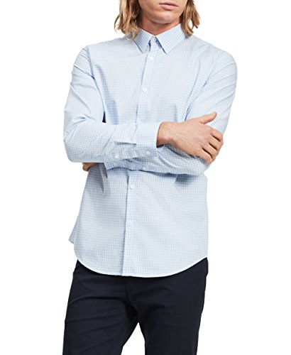 Calvin Klein Men's Slim Fit Check Long Sleeve Non-Iron Button Down Shirt, Blue Capri, XX-Large (Calvin Klein Mens Dress Shirt Xxl)