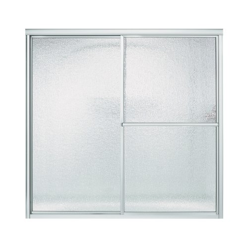 Sterling 5906-59S Deluxe By-Pass Bath Door, Silver with Rain Texture Glass