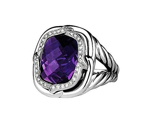 Yurman David Amethyst (David Yurman ST.SILVER LABYRINTH DIAMOND & AMETHYST RING Size 7)
