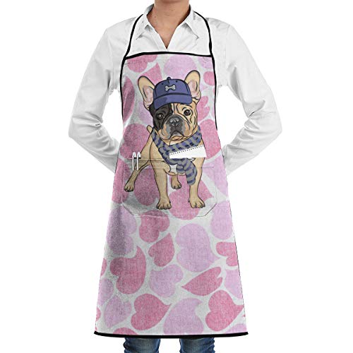 DUKE7 Kitchen Bib Apron Cotton Canvas Apron with Convenient Pocket Kitchen and Cooking Apron for Women & Men (French -