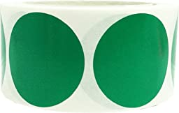 InStockLabels Color Coding Dot Labels 2 Inch 500 Adhesive Stickers, Green