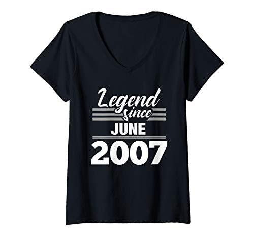 Womens 12th Birthday Gift Legend Since June 2007 V-Neck T-Shirt