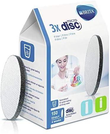 Oferta amazon: FILTROS BRITA MICRODISC – Pack 3 filtros para el agua, Discos filtrantes compatibles con botellas BRITA que reducen la cal y el cloro