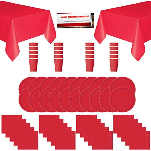 Red Solid Color Party Supplies Bundle Pack for 20 - Plates, Cups, Napkins and Table Covers (Plus Party Planning Checklist by Mikes Super Store) (Red) -