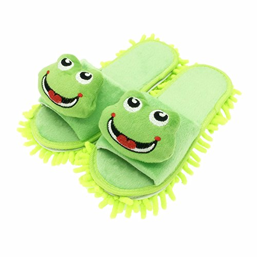 Selric Smiling Frog Mop Slippers Shoes Green,Microfiber House Floor Cleaning Tool Detachable Mopping Shoes 9 7/9″ [Size:5.5-8.5.]