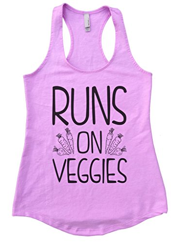 Flowy Womens Run On Veggies Vegan Racerback Tank Top Gift Funny Threadz Small, Lilac