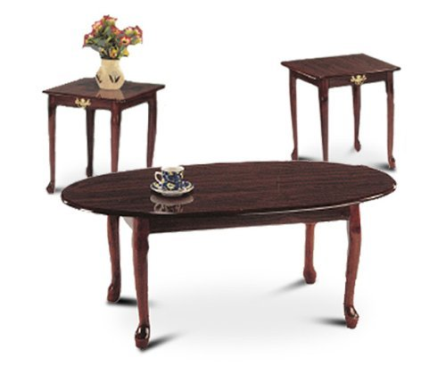 - 3 Piece Cherry Finish Coffee Table Set With Two End Tables