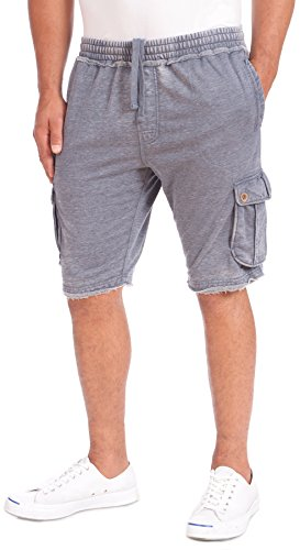 Point Zero Men's French Terry Burnout Shorts (Navy, - Short Casual Cotton