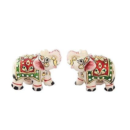 Amazon Com Handicrafts Paradise Elephant Pair In Marble With Meena